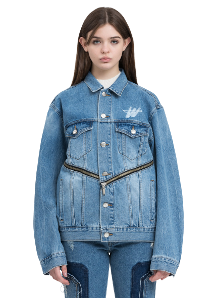 Blue WD Logo Zipper Denim Jacket