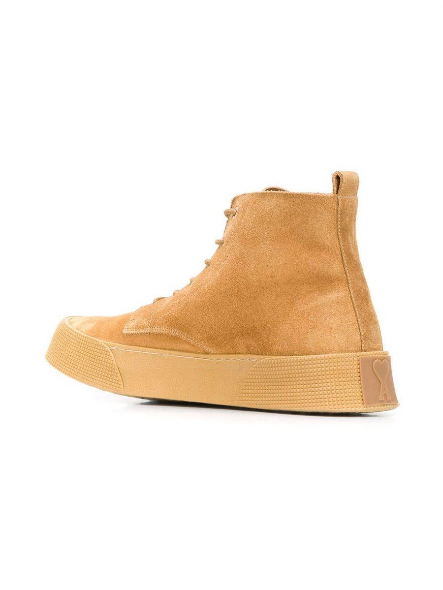 Beige Vulcanized Laced Boots