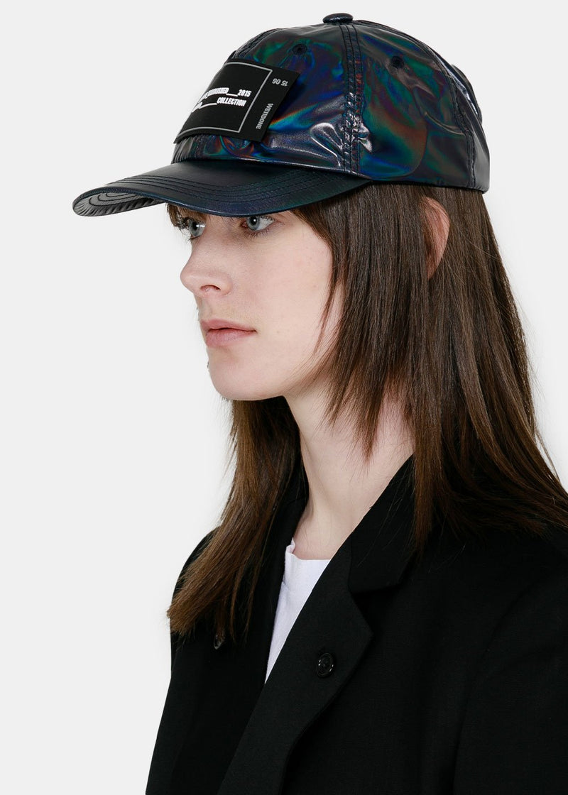 Navy Holoshine Rubber Patch Cap