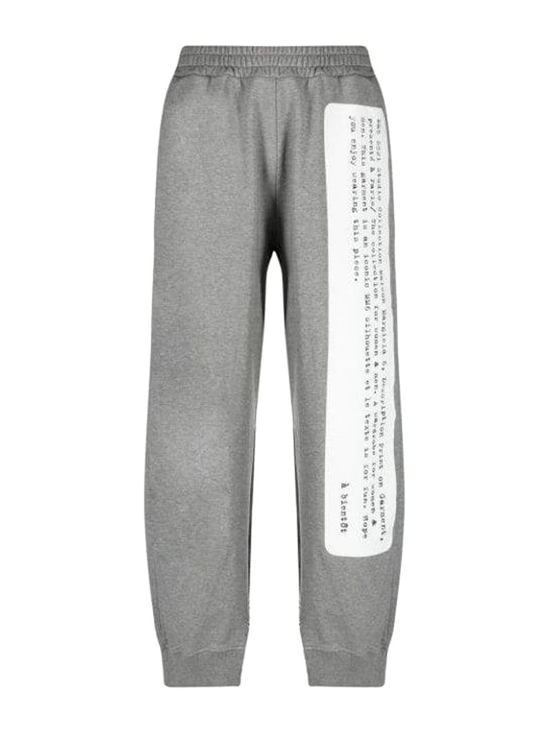 Grey Painted Cut Out Raw Edge Track Pants