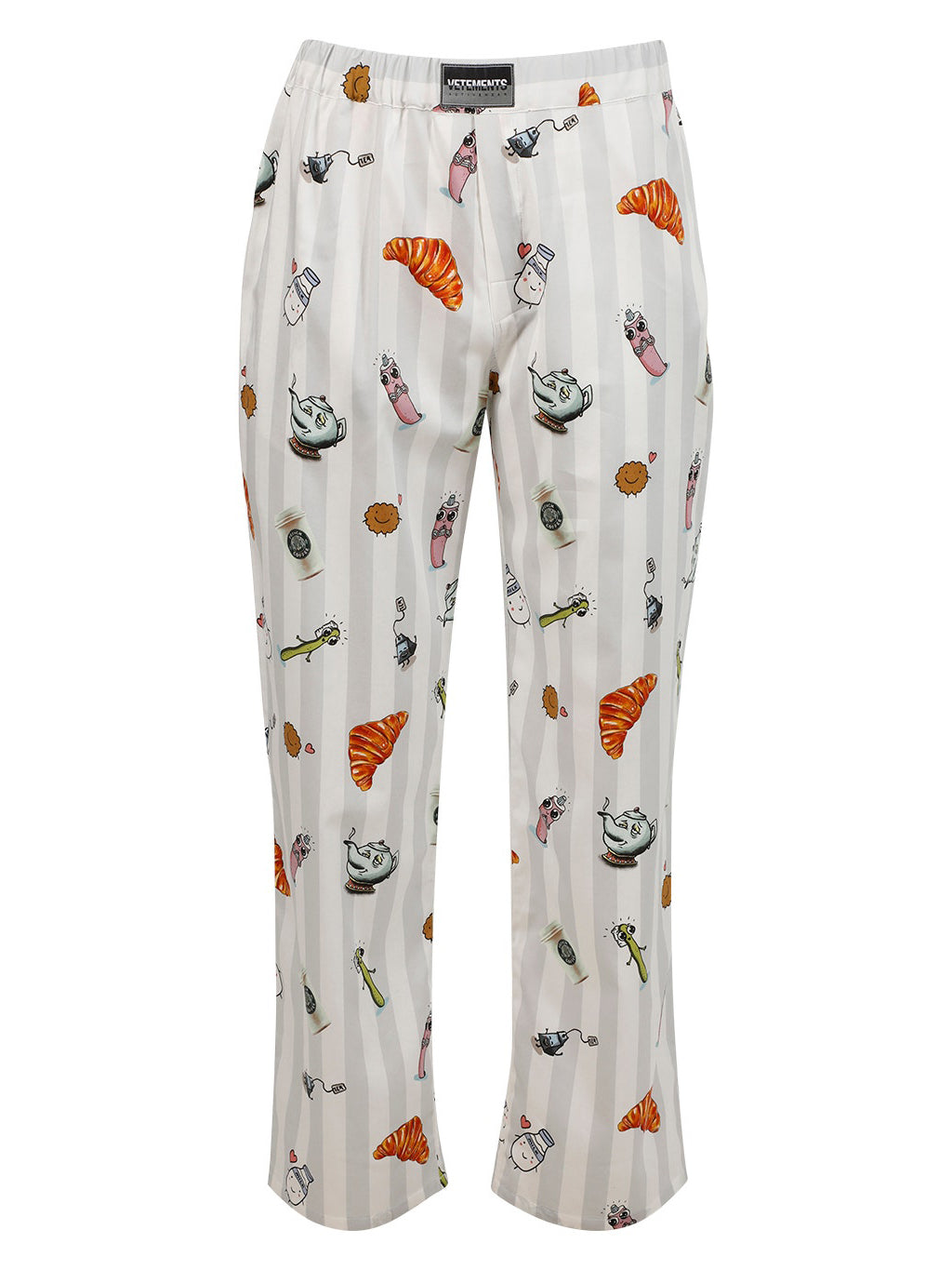 White Breakfast Print Trousers