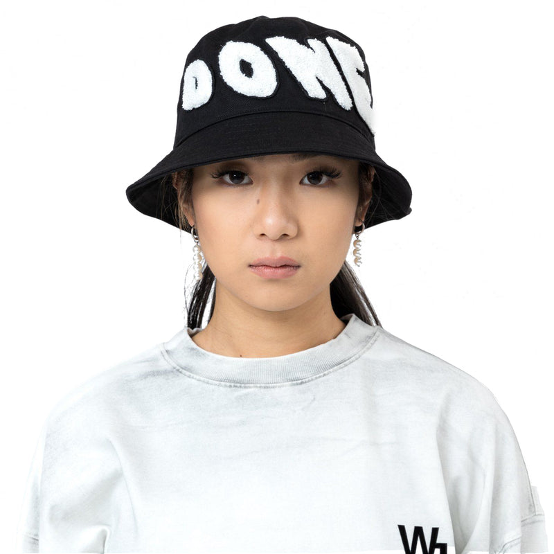 Black Embroidered Patch Logo Bucket Hat