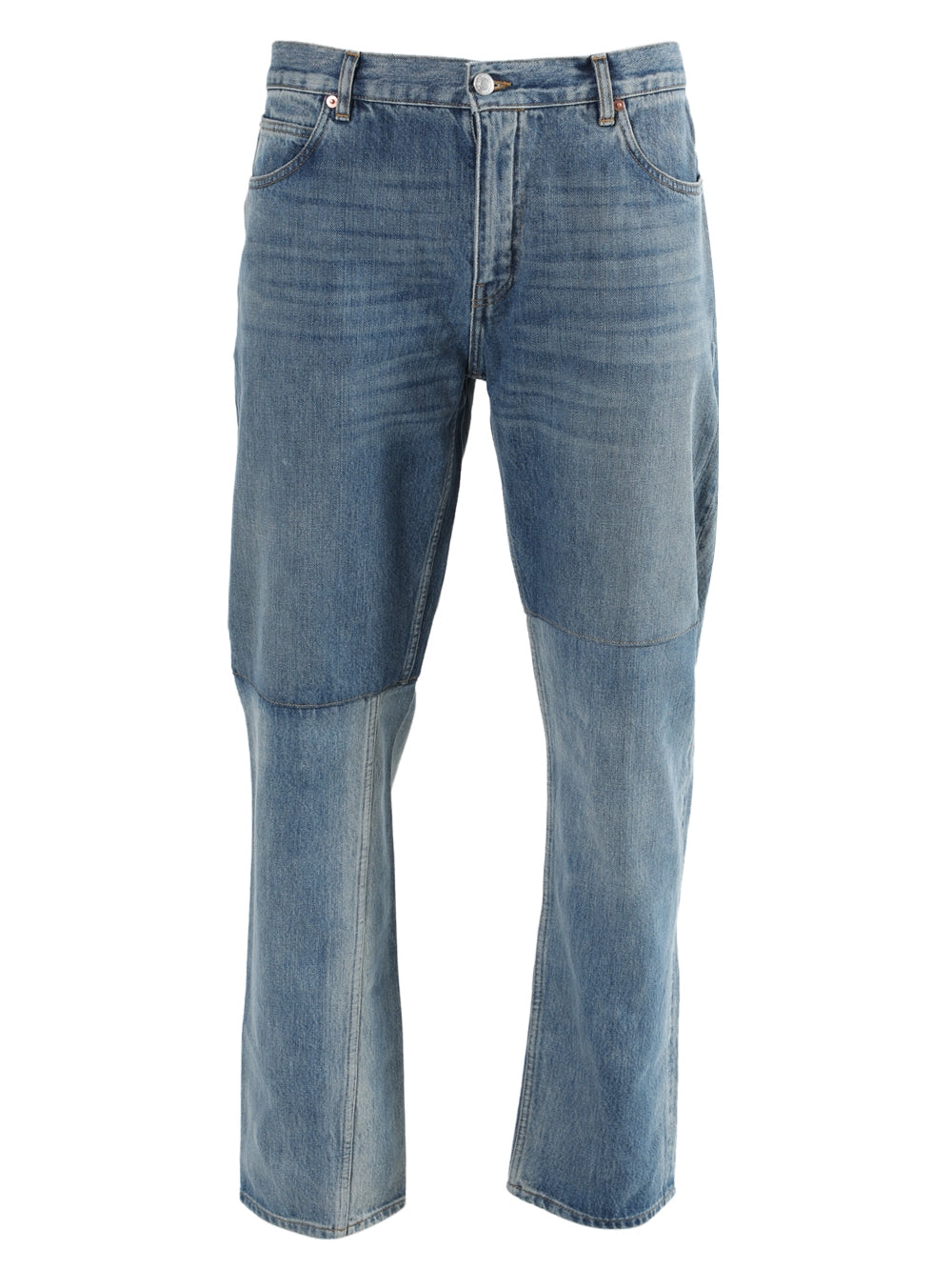 Blue Two-Tone Straight Leg Jeans
