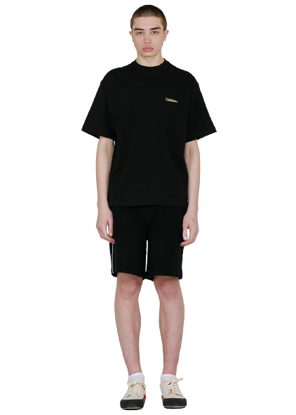 Black Boxy Logo Embroidery T-Shirt