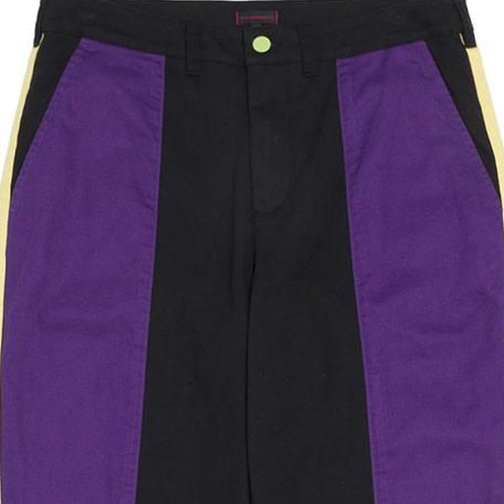 Black & Purple Contrast Color Tapered Pants