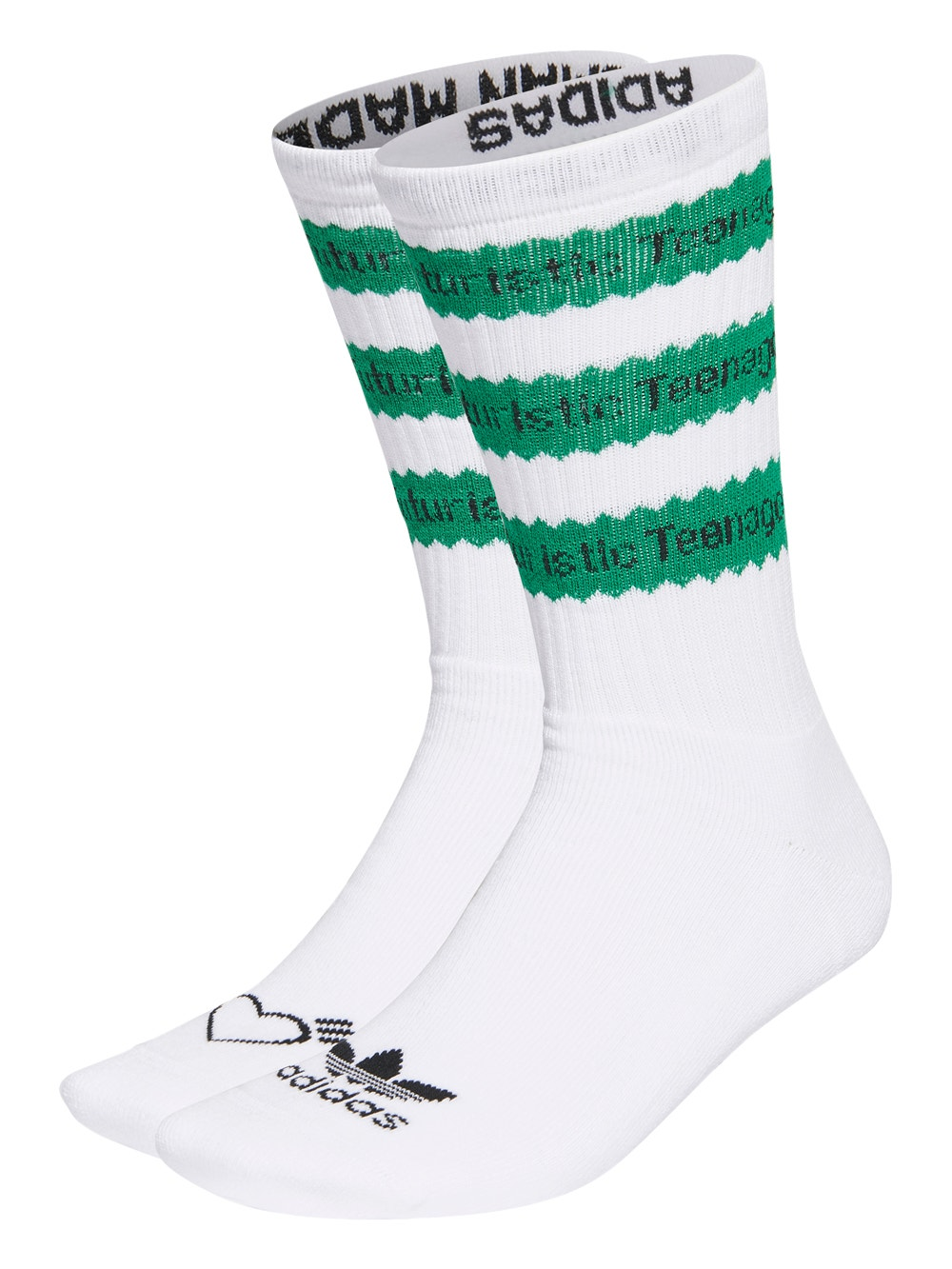 White & Green Adidas X Human Made Striped Socks