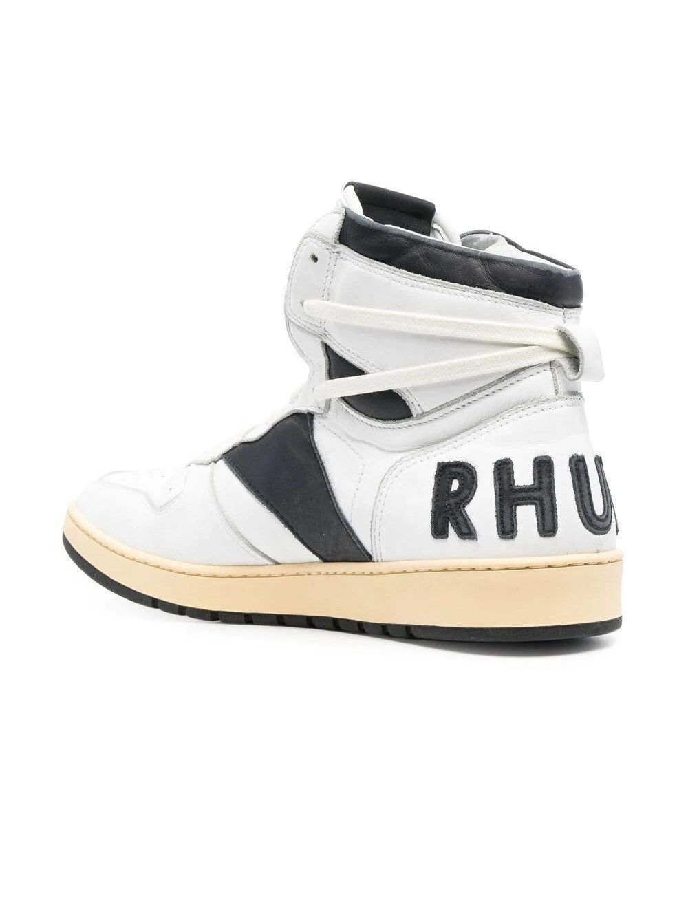 White & Black Rhecess High Top Sneakers
