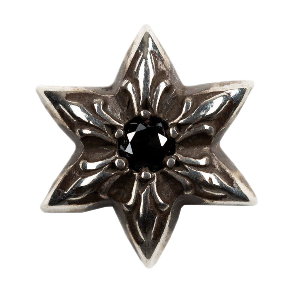 Silver Six Point Star Black Diamond Stud Earring
