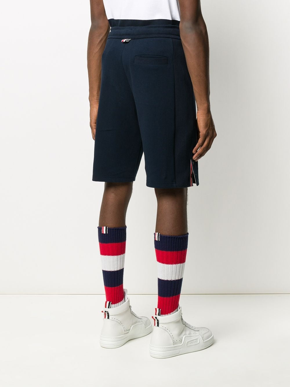 Navy 4-Bar Track Shorts