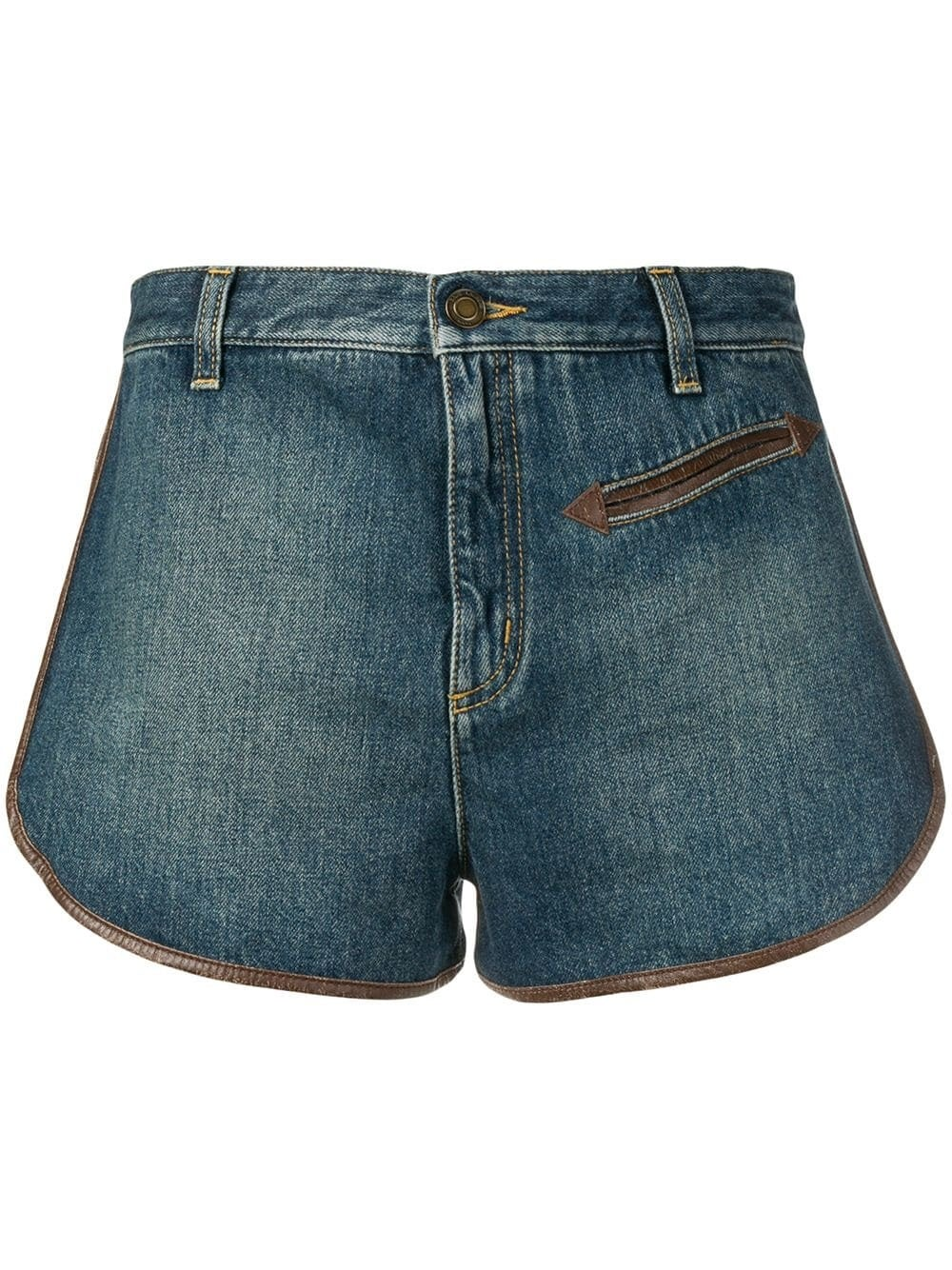 Blue Contrast Piping Denim Shorts