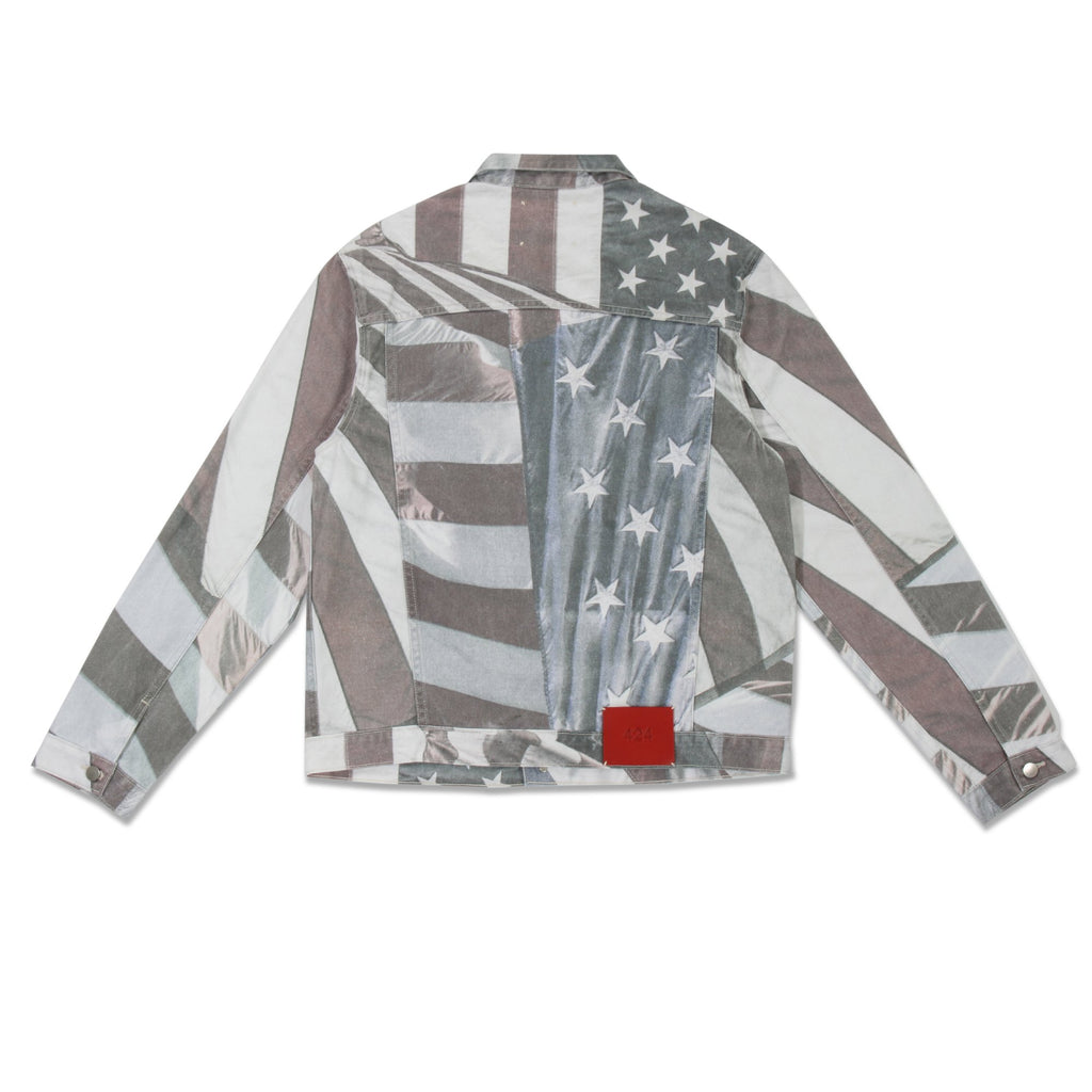 Multi American Flag Denim Trucker Jacket