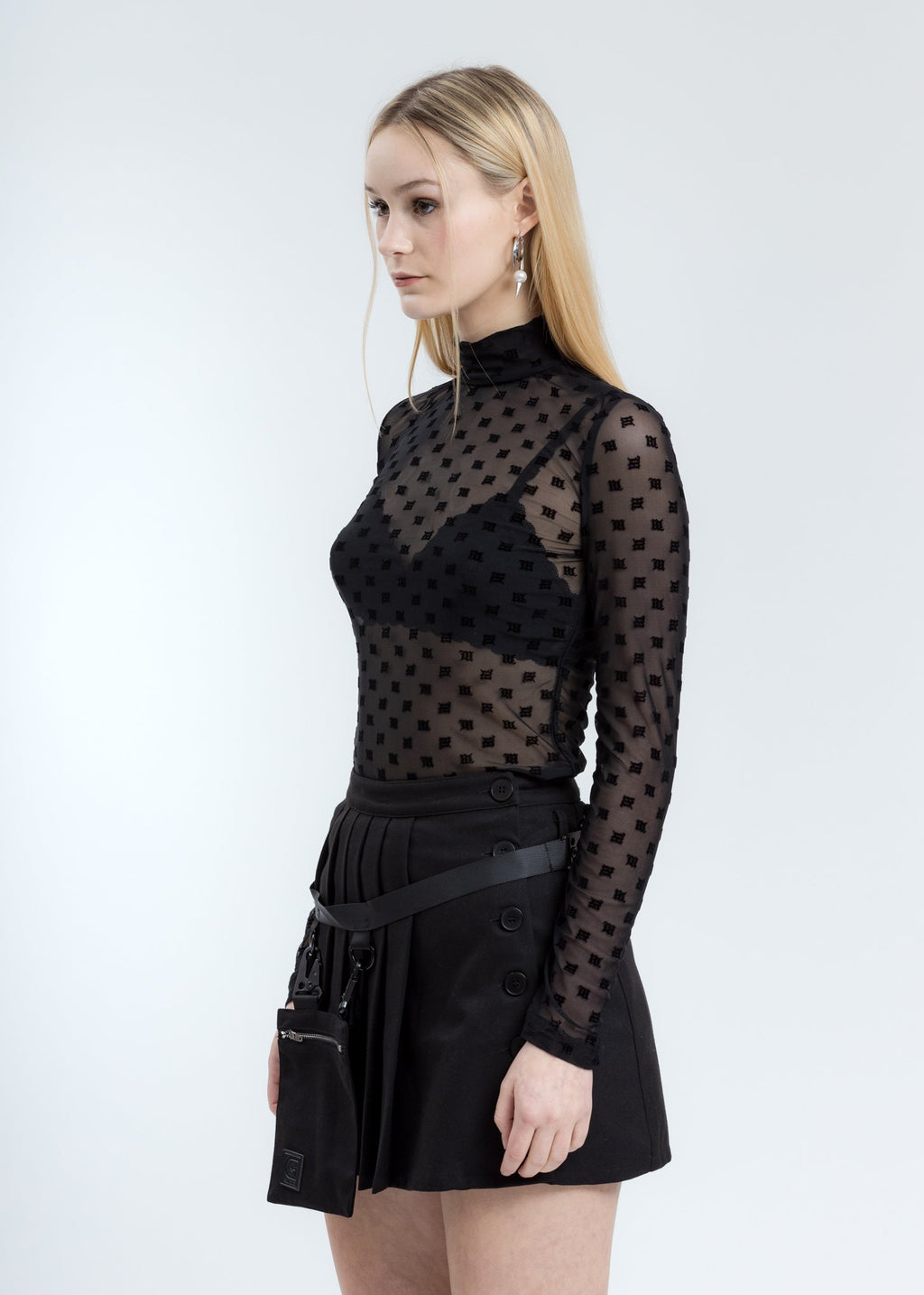 Black Monogram Mesh Turtleneck