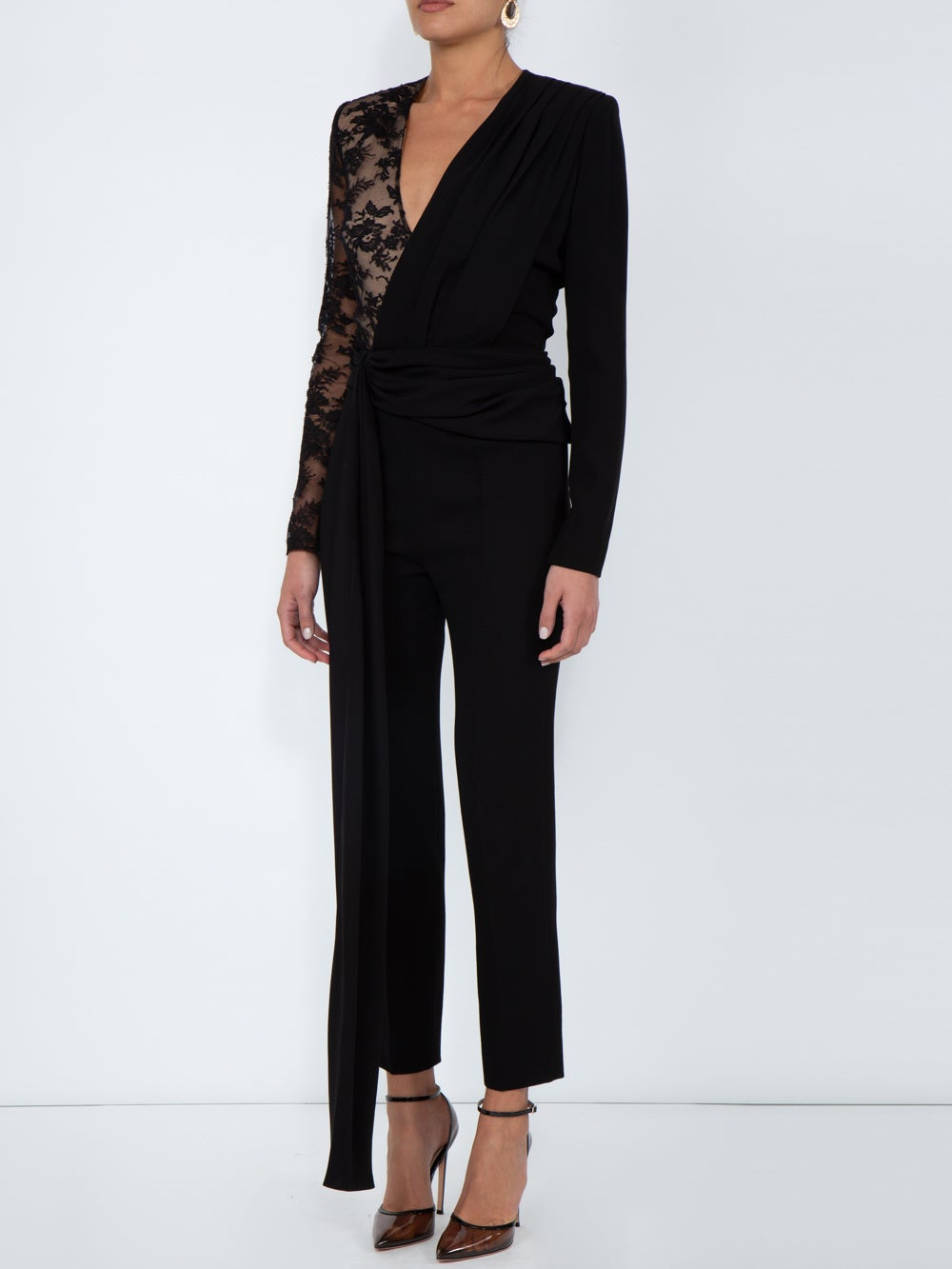 Black Lace Draped Detailed Jumpsuit