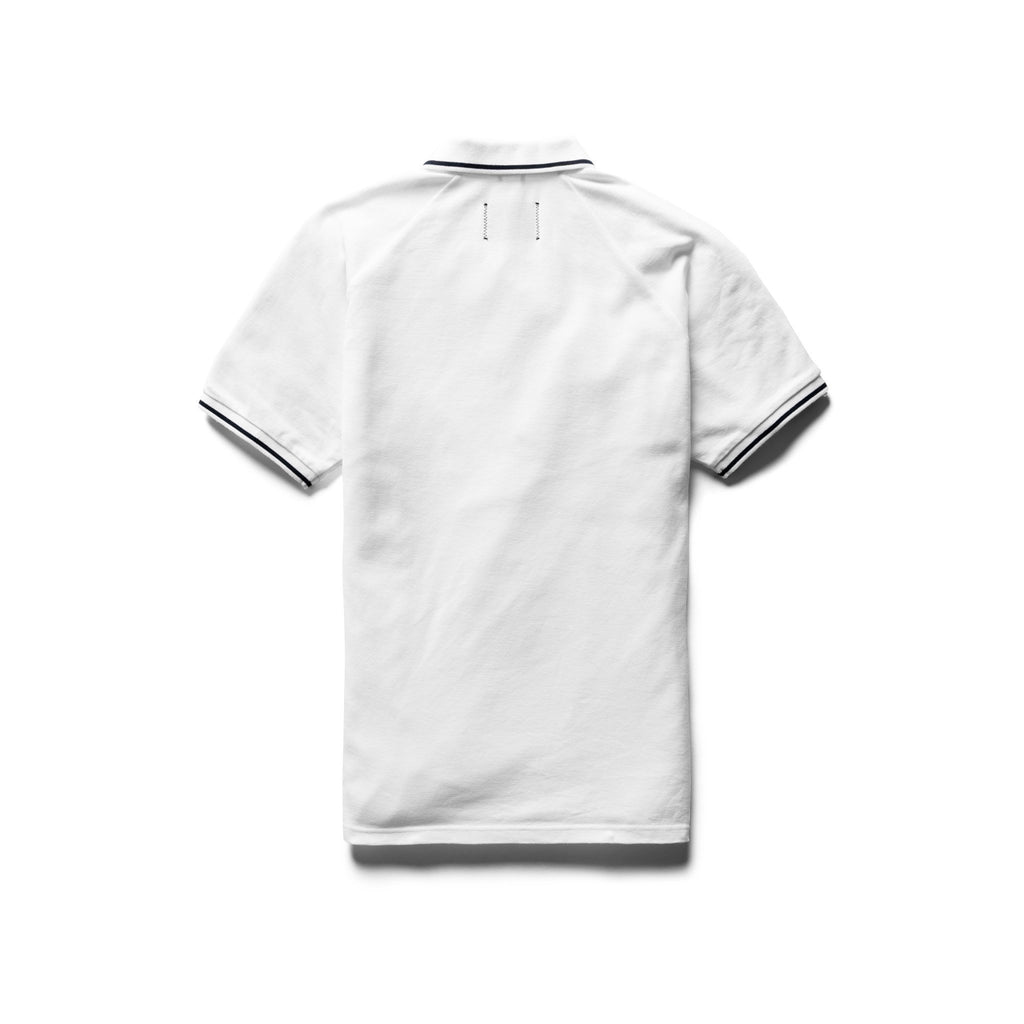 White Knit Athletic Pique Polo T-Shirt