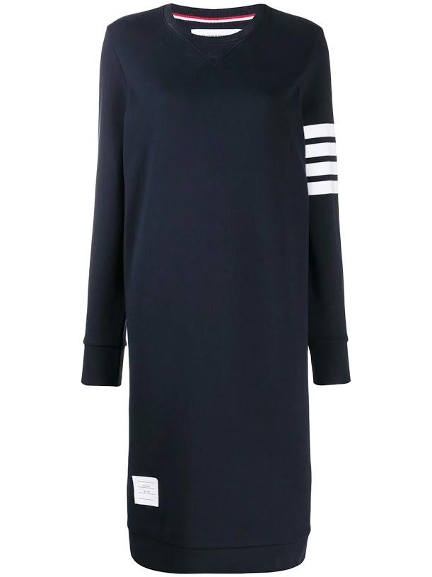Navy Below Knee Sweater Dress