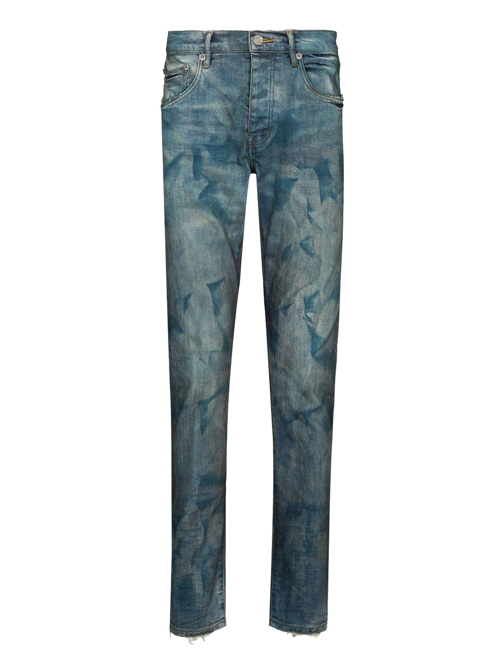 French Blue Bleached Effect Denim Pants
