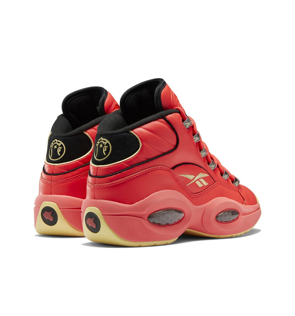 Red & Black Reebok x Hot Ones Question Mid Sneaker