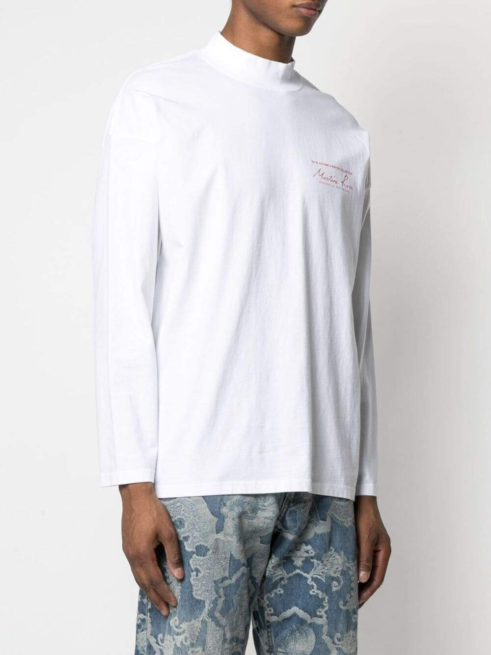 White Funnel Neck T-Shirt