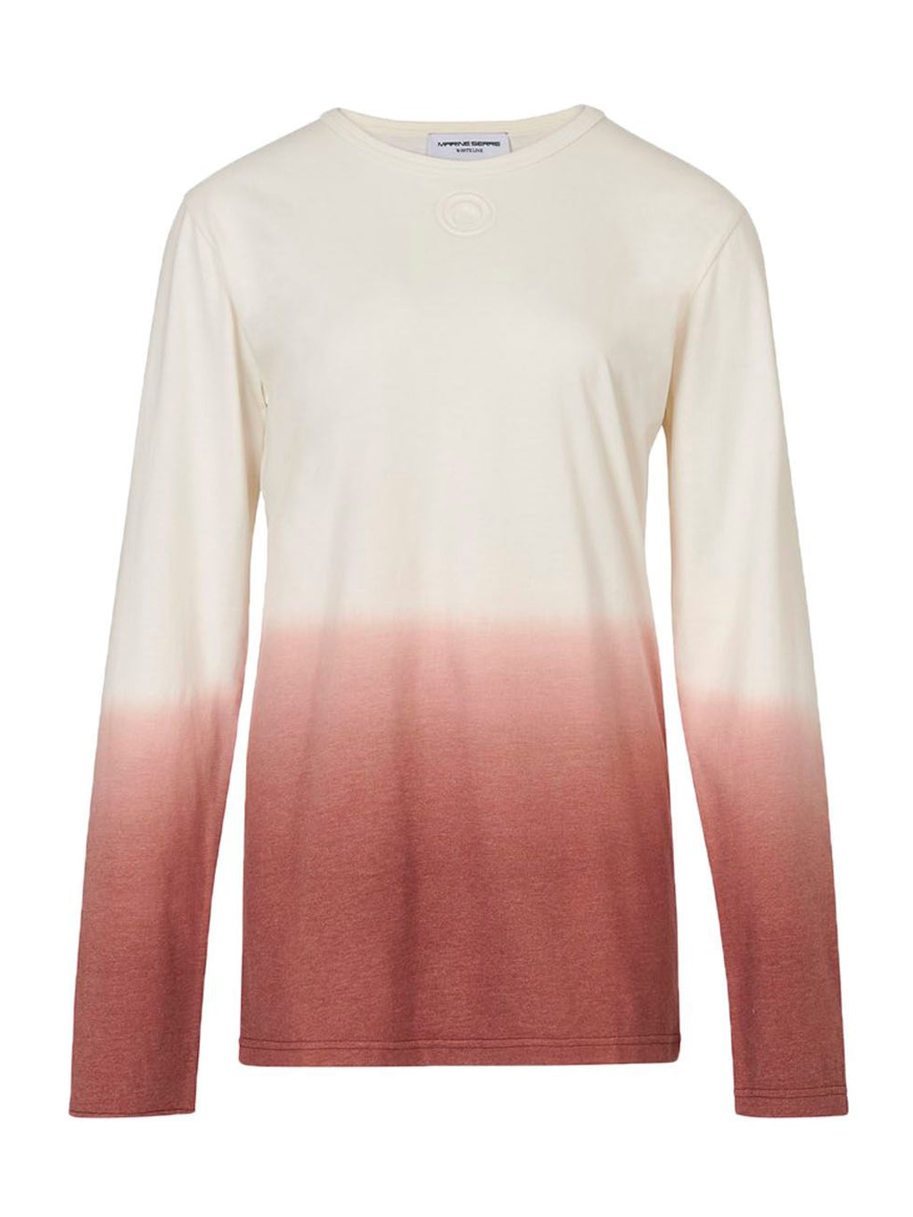 Ivory & Red Cotton Long Sleeve Dip Dye T-Shirt