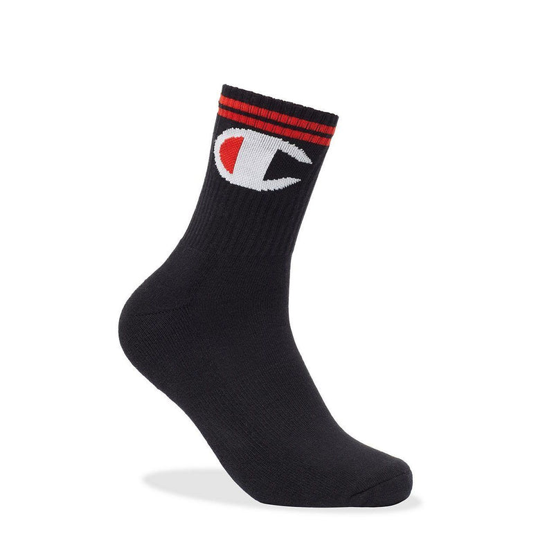 "Black P1 Big ""C"" Mid-Crew Socks"