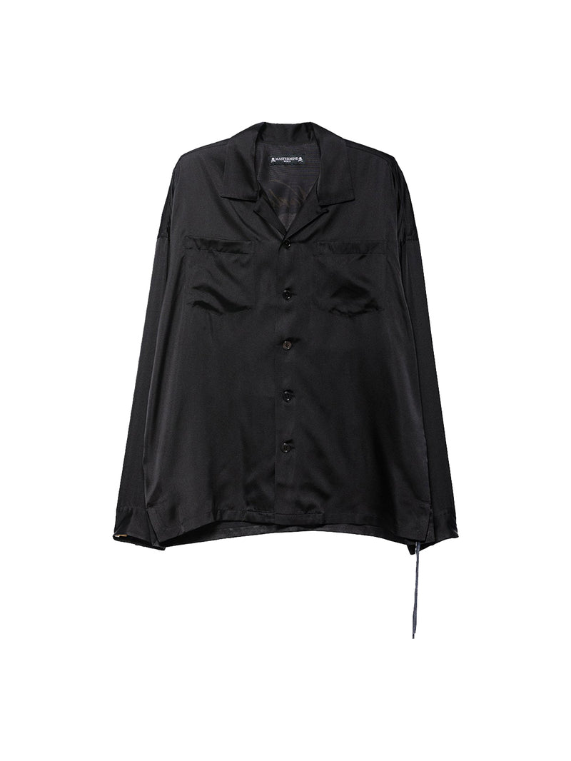 Black Logo Skull Embroidery Silk Shirt