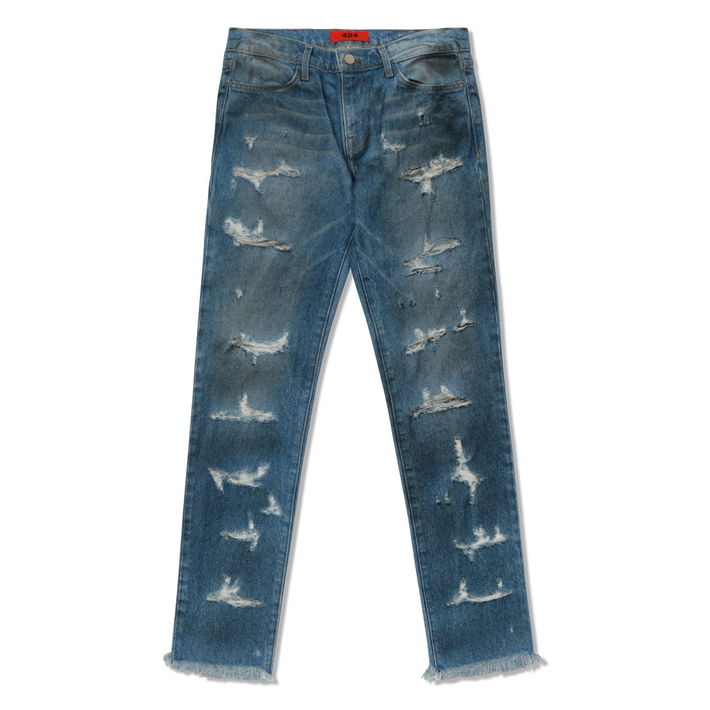 Indigo 4 Pocket Destroyed Denim Pants