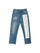 Stone Wash Blue Text Print Jeans thumbnail 1