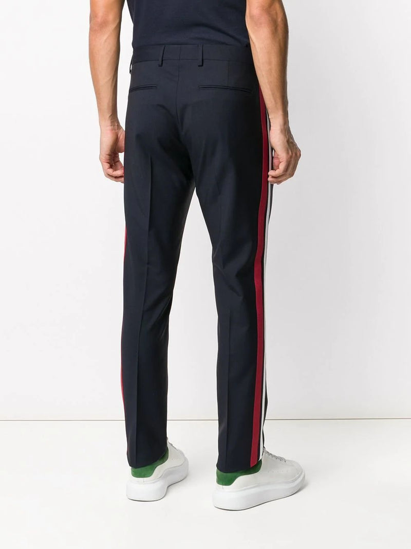 Black & Red Stripe Panel Tailored Trousers