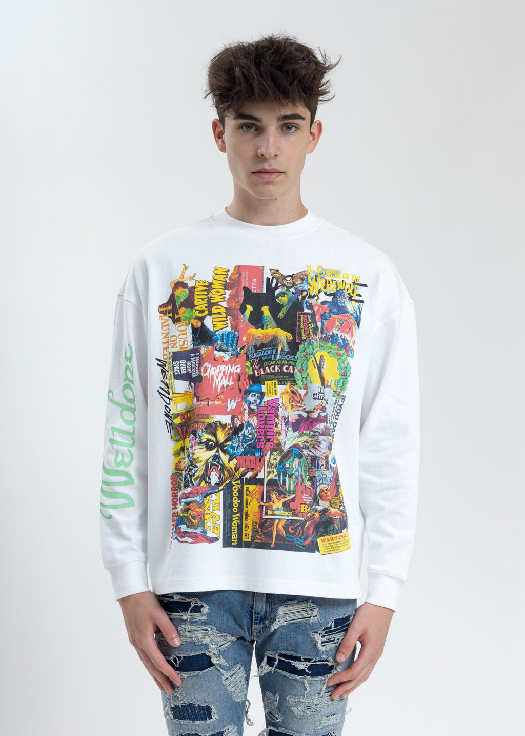 White Horror Collage Long Sleeves Sweatshirt