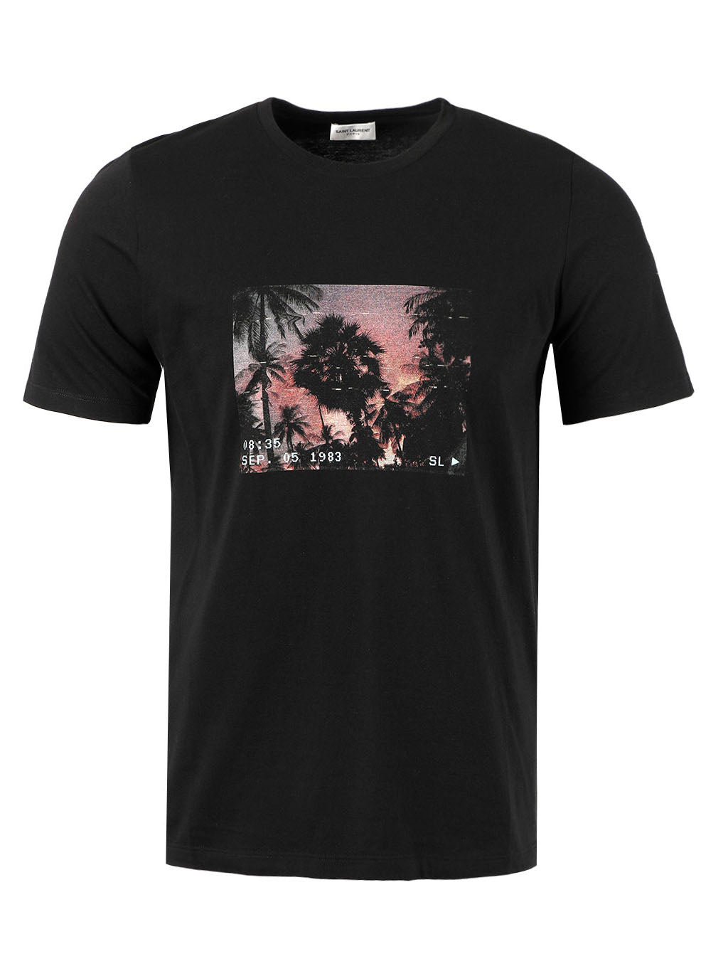 Black Palm Trees Graphic Print VHS T-shirt