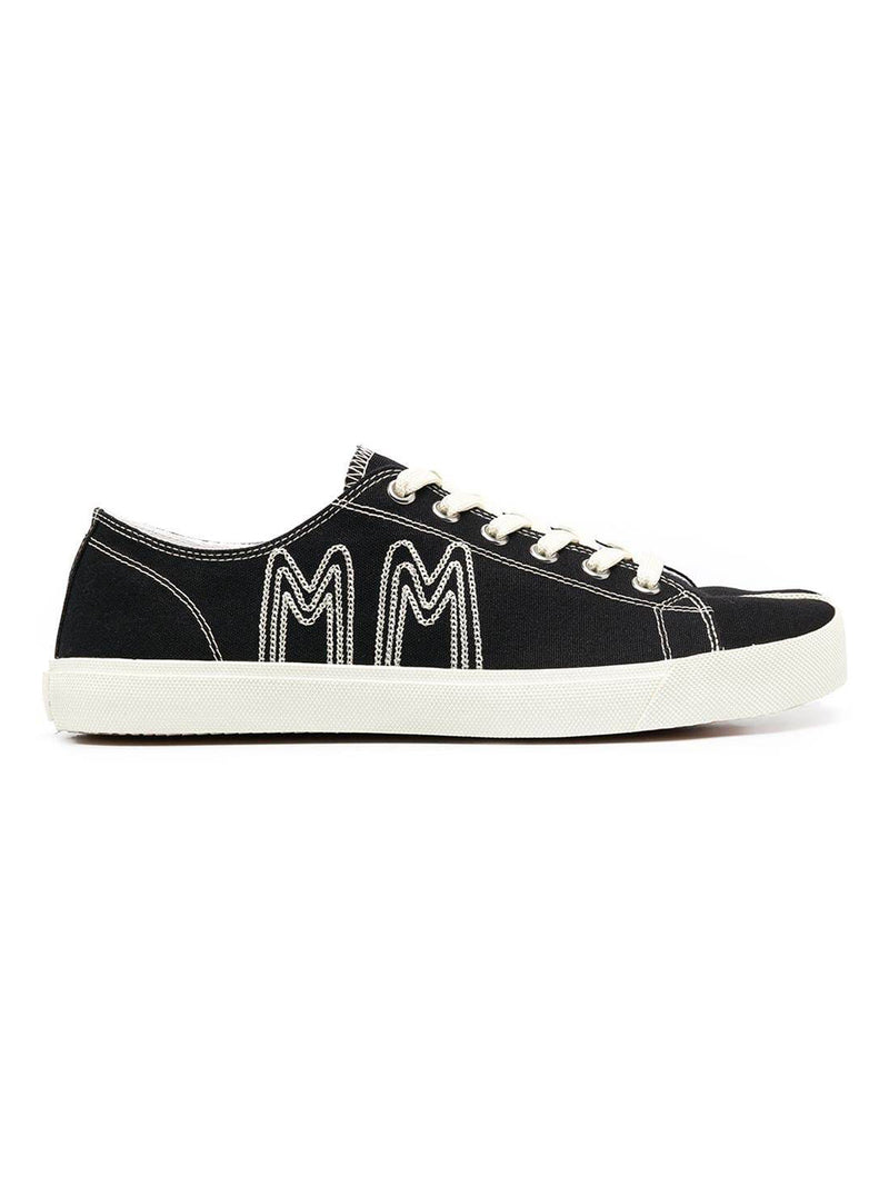 Black Logo Embroidery Canvas Tabi Sneakers