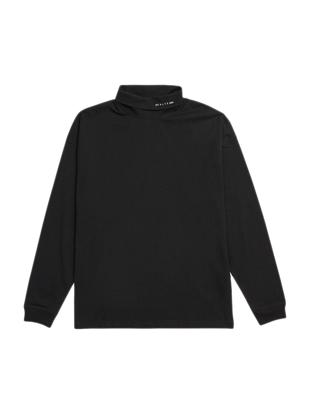 Black Visual Roll Neck Long Sleeve T-Shirt