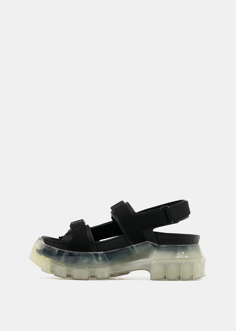 Black Tractor Leather Sandals