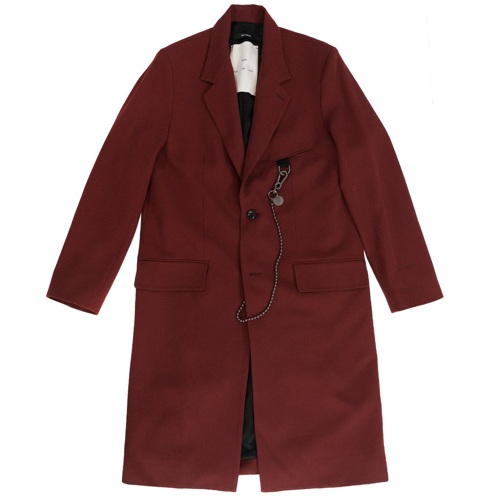 Burgundy Print Single Breasted Coat