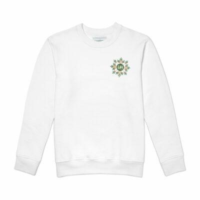 White Laurel Logo Embroidered Sweatshirt