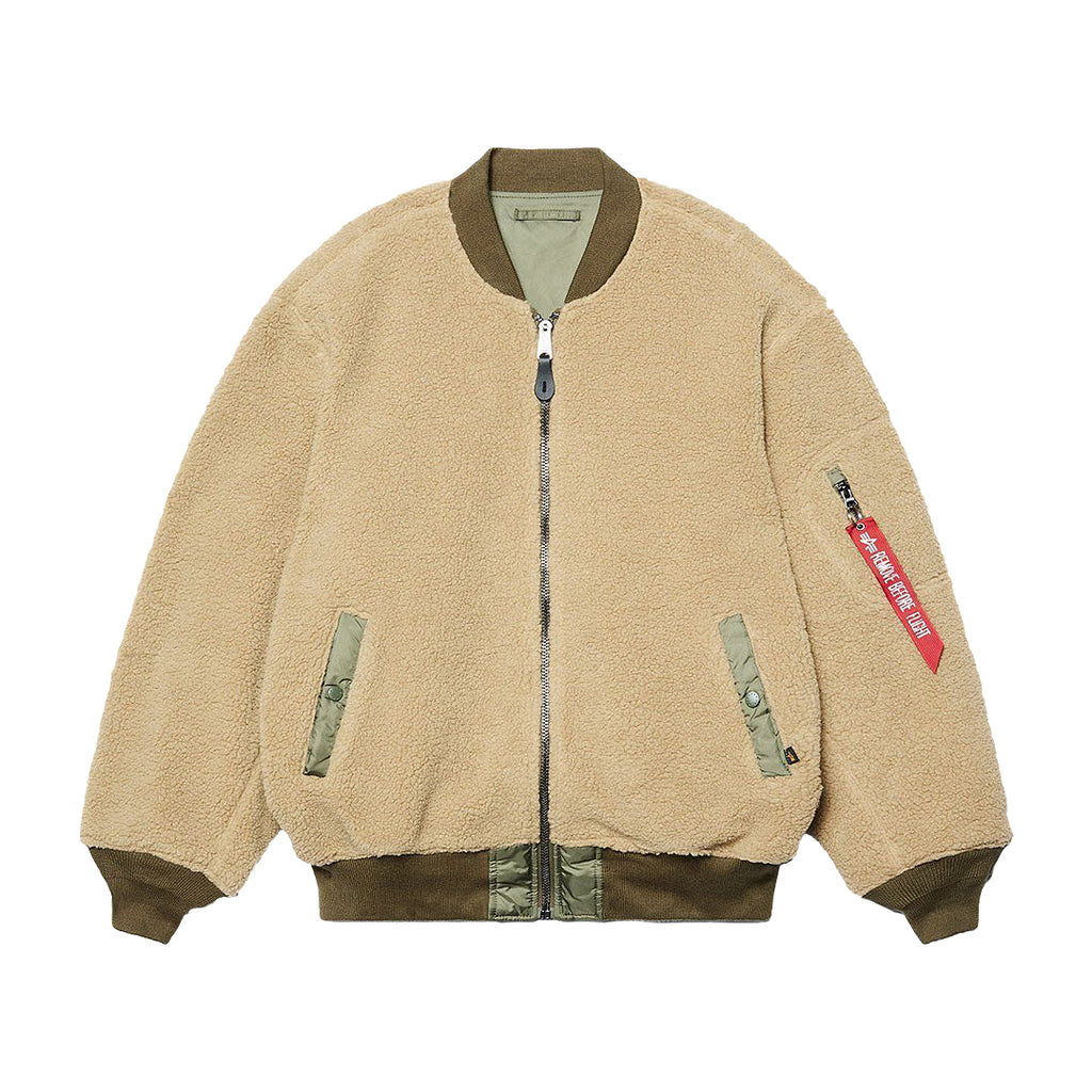Beige & Green L-2B Sherpa Loose Flight Jacket