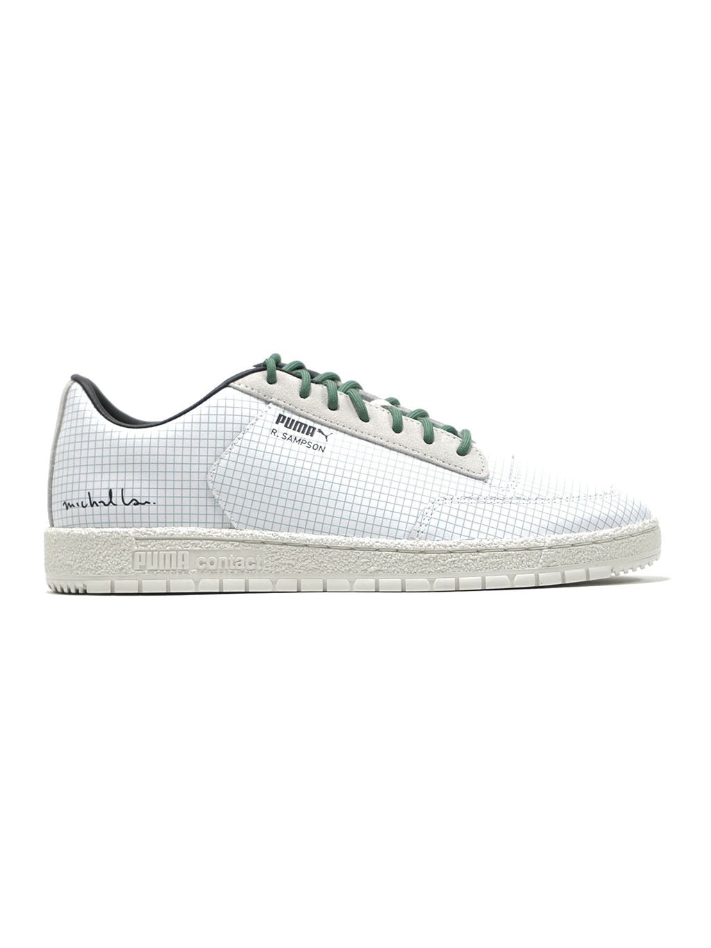 White and Green Michael Lau x Puma Ralph Sampson 70 Clean Sneakers