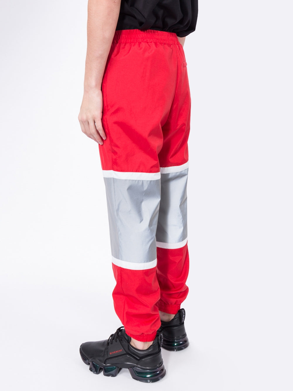 Red Logo Graphic Striped Nylon Track Pants