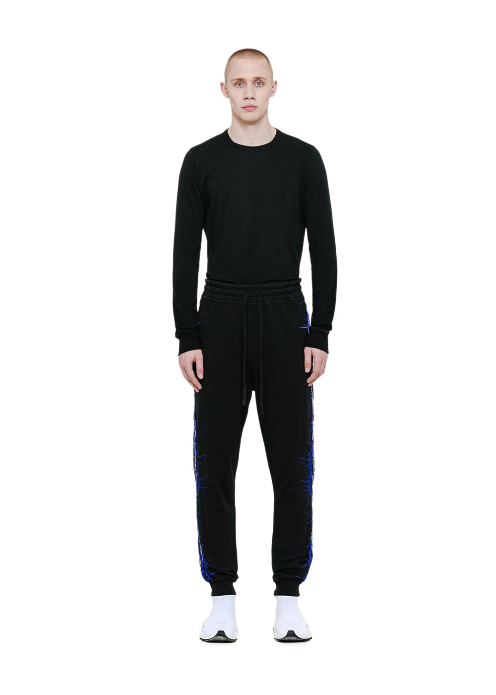 Black Embroidered Relaxed Fit Sweatpants