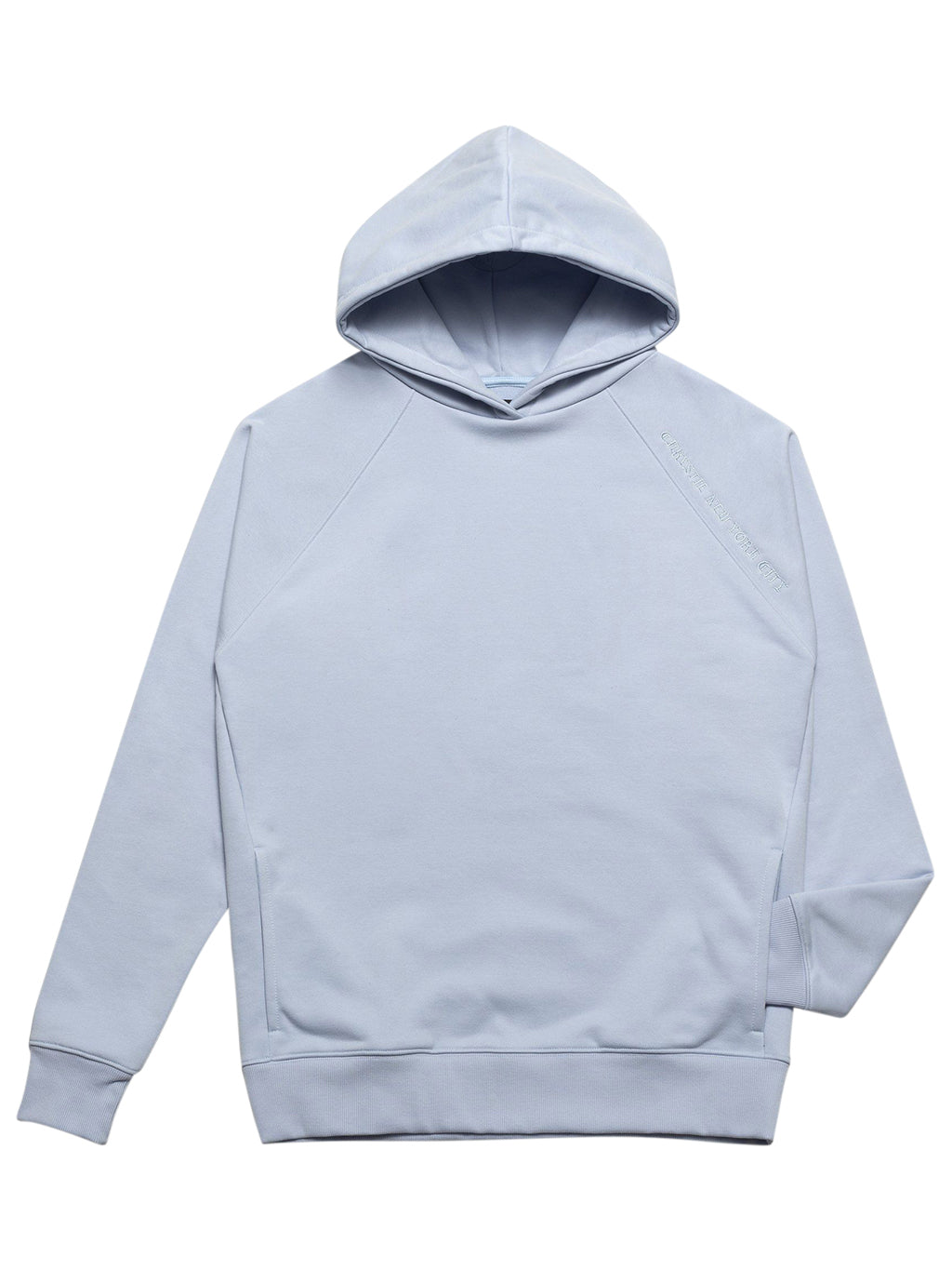 Blue Clean Cut Side Pockets Hoodie