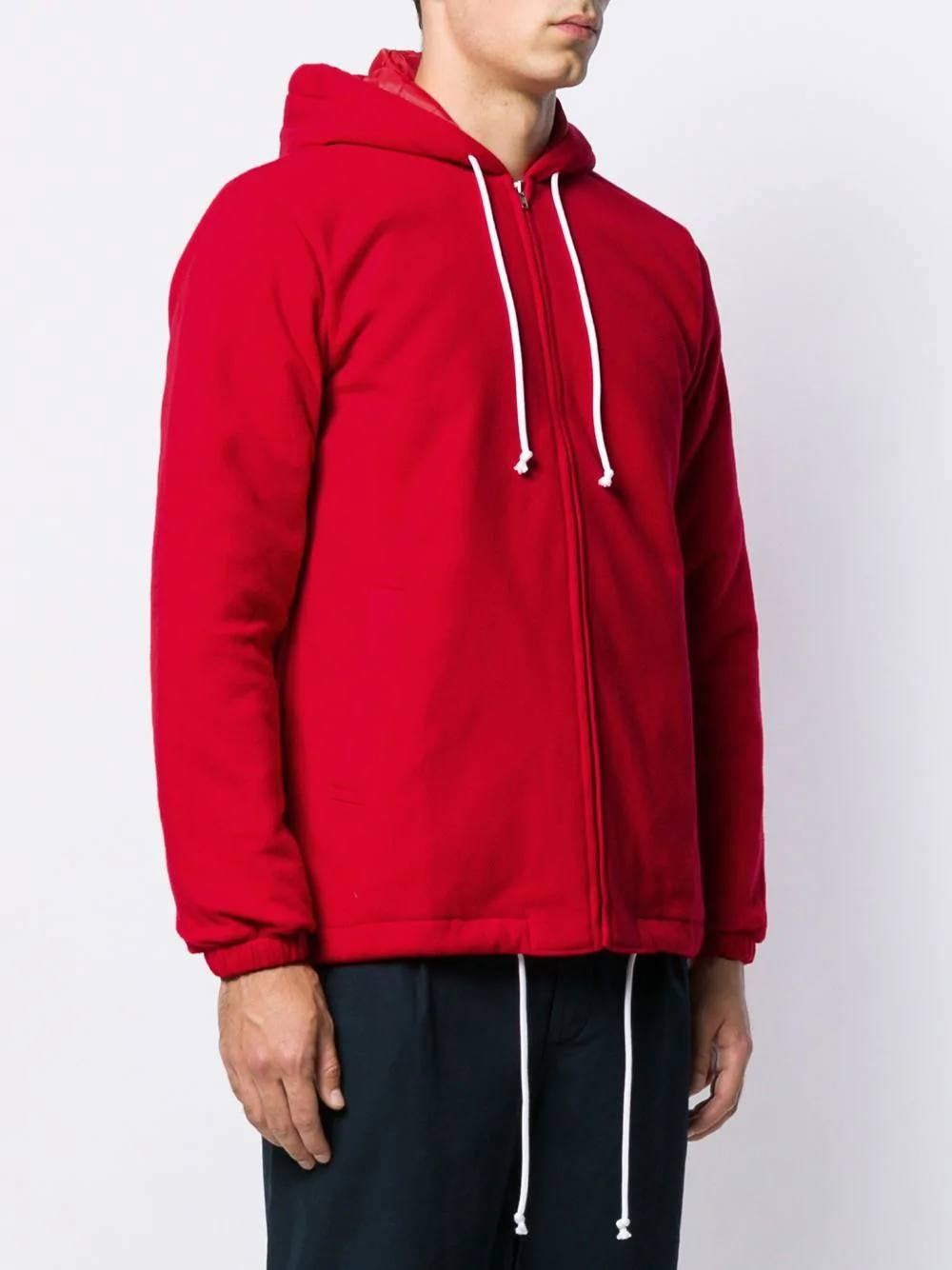 Red Zipped Hooded Jacket