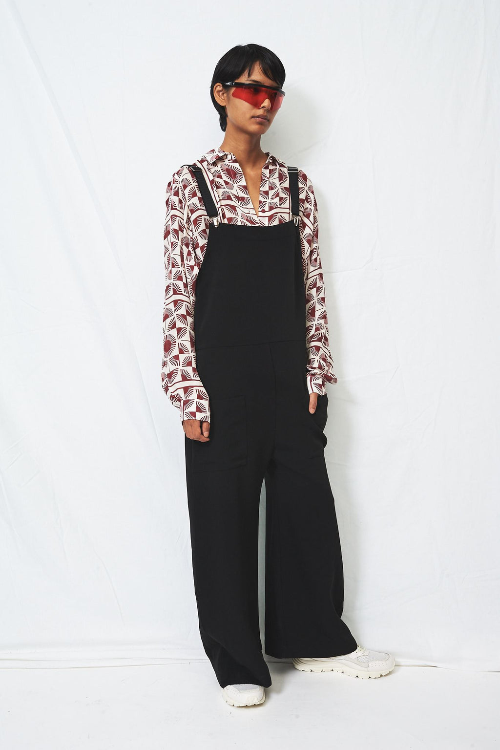 Black Suiting Oversized Overalls