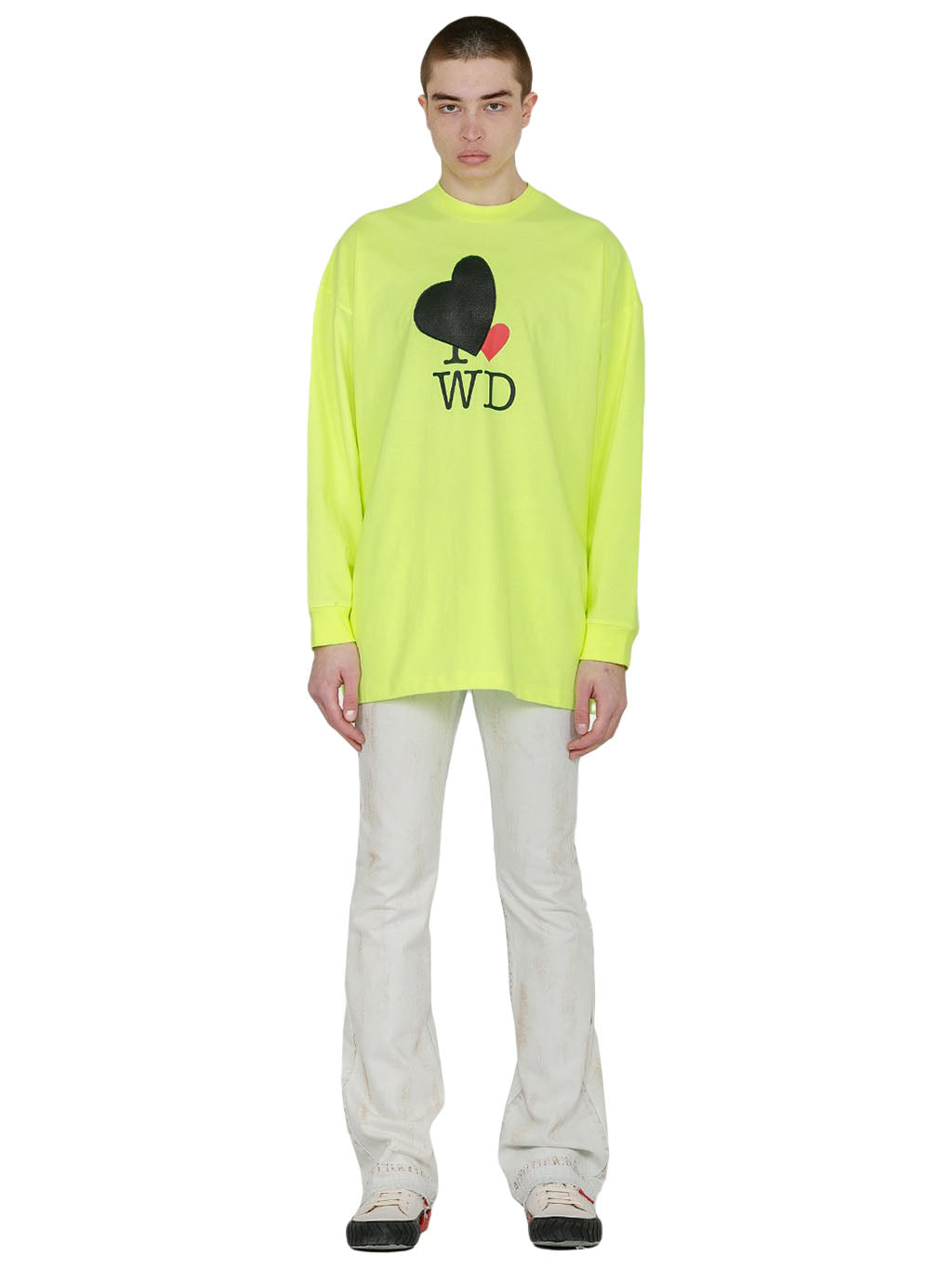 Neon Yellow Heart Patch T-Shirt