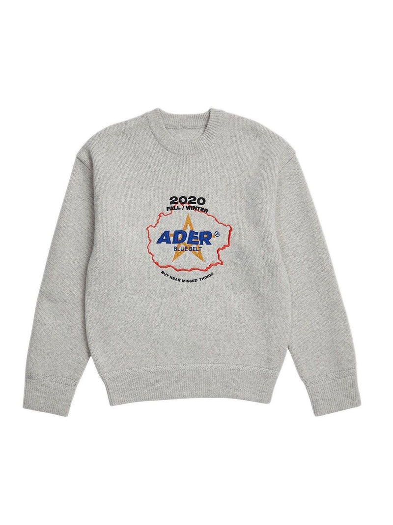 Grey Centre Logo Knit Sweatshirt