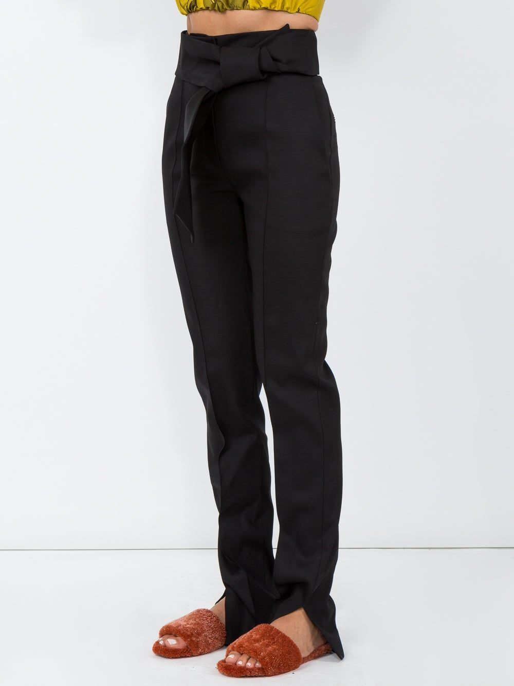 Black Oversized Bow Trousers