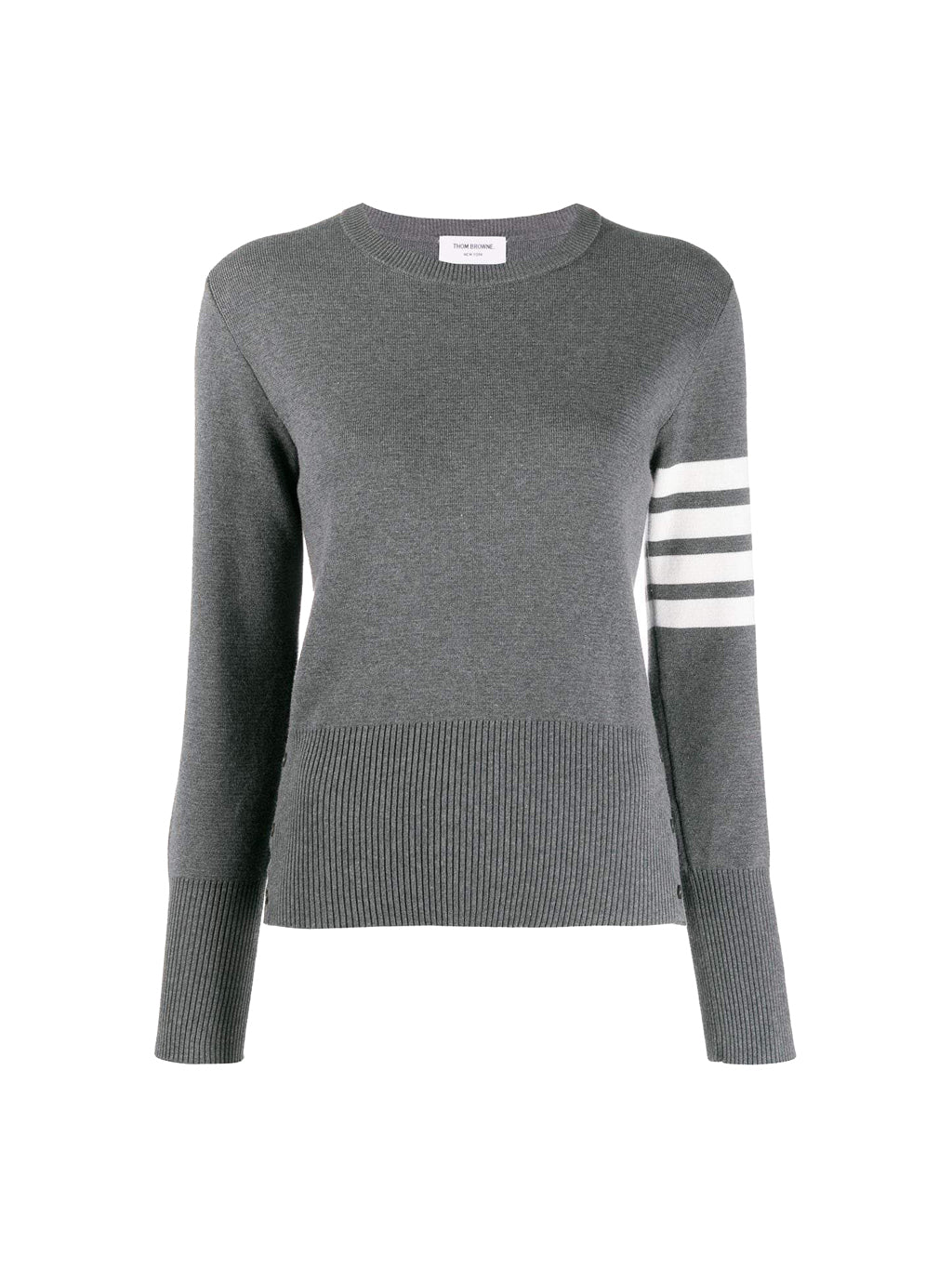 Medium Grey Milano Stitch Classic Crew Neck Cotton Crepe With 4 Bar Pullover