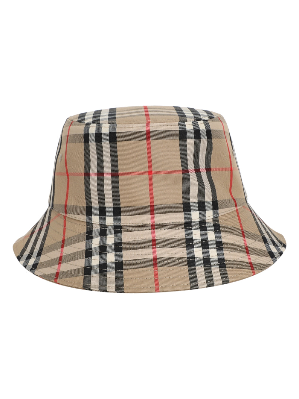 Beige Checkered Bucket Hat