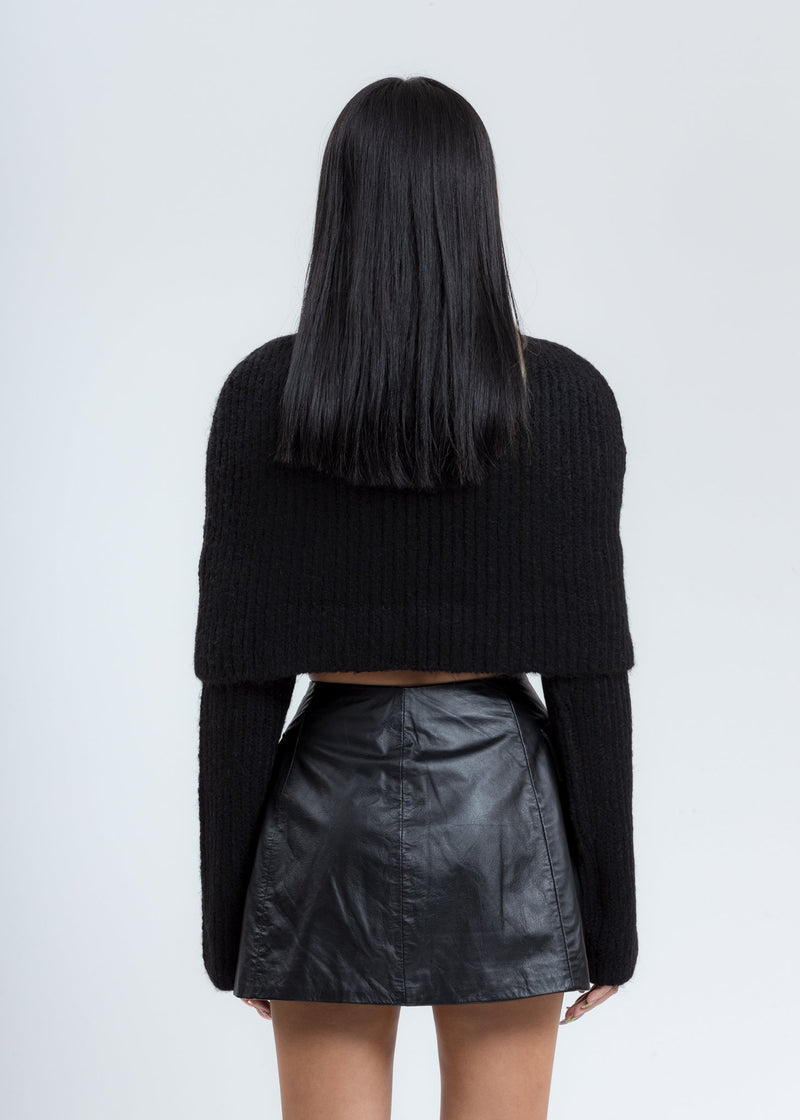 Black Turtleneck Cap Knit Sweater