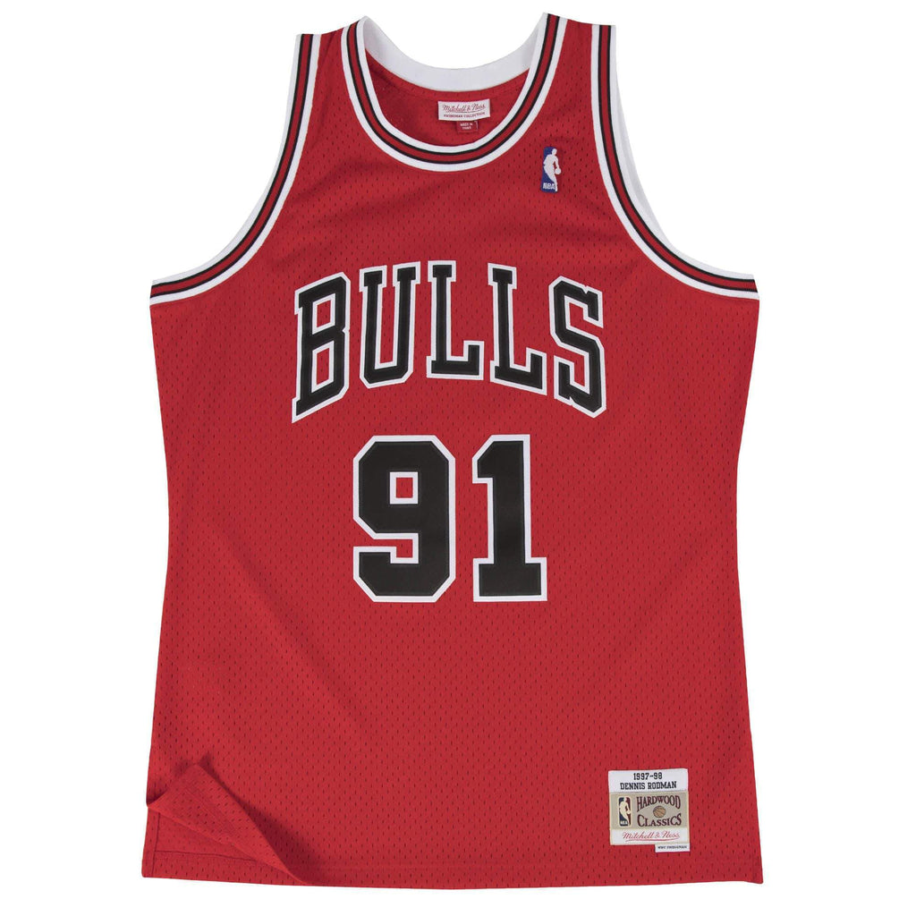 Red NBA Chicago Bulls Swingman Dennis Rodman Jersey
