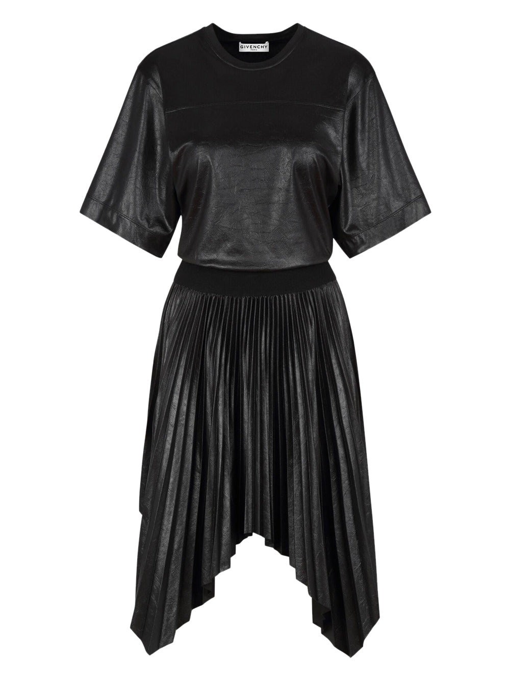 Black Pleated Varnished Dress